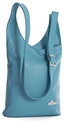 LIATALIA Womens Genuine Soft Italian Leather Long Shoulder Strap Cross Body Hobo Bag - KALEY Turquoise