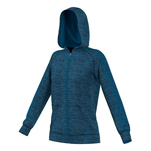 adidas Womens Team Issue Fleece 3-Stripes Full-Zip Hoodie, Unity Blue/Black Heather, X-Small - Adidas 3 Stripes Fleece Hooded