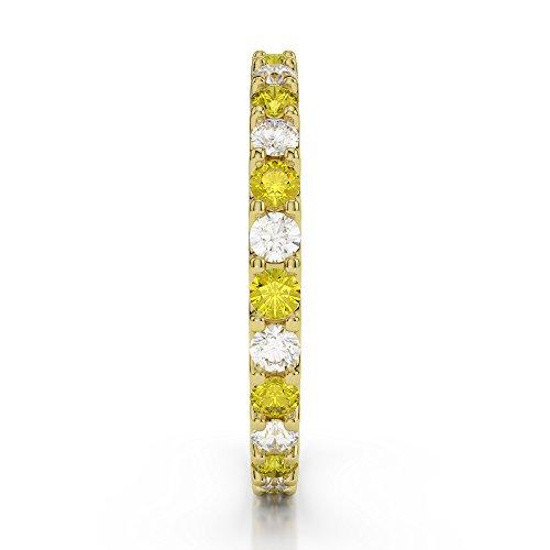 Or jaune 18carats 0,42CT G-H/VS sertie de diamants ronds Cut Saphir Jaune et éternité Bague Agdr-1104