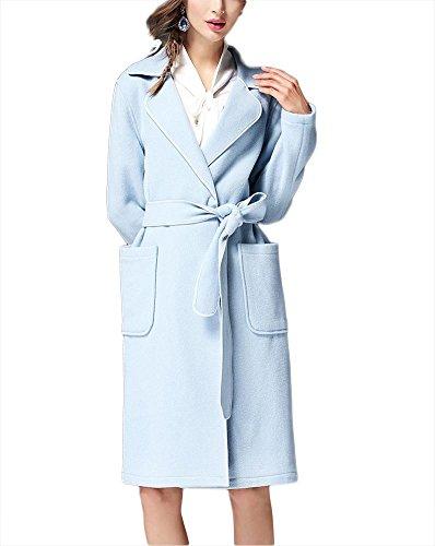Chaqueta de lana de otoño invierno de las mujeres abrigo de cachemira Outwear rompevientos con collar de traje de cintura hebilla oscura ropa Slim Fit blue