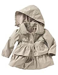 Vikoros Little Girls' Hooded Breasted Trench Dress Coat