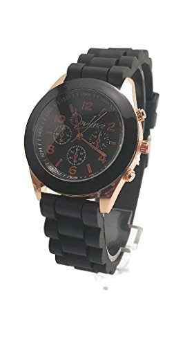 Unisex Opulence Silicone Jelly Gel Quartz Analog Sports Wrist Rose Gold Watch, Black