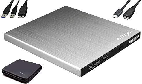Archgon Star UHD 4K-Ultra HD BD Reproductor Player Externo, lectores grabadora de BLU-Ray BDXL para PC USB 3.0 USB-C, M-Disc, Caja de protección, Unidad bluray Externa, Lector UHD, ALU Plateado: Amazon.es: Electrónica