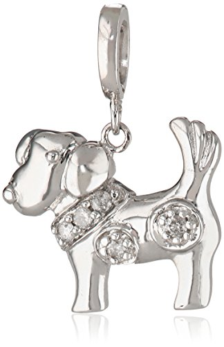 Sterling Silver Diamond Dog Charm