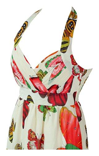 Diseño de larga Evening diseño de impresión sin mangas vestidos de novia e instrucciones para hacer vestidos Empire cuello halter Orange Butterfly Print on White