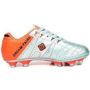 DREAM PAIRS 160471-K Kid's Fashion Soccer Shoes Outdoor Light Weight Lace Up Football Sport Cleats Sneakers (Toddler/Little Kid/Big Kid) Silv-Oran-Blk Size 5
