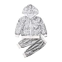 Silver Sequin Hooded Long Sleeve Zip Sweatshirt & Pant