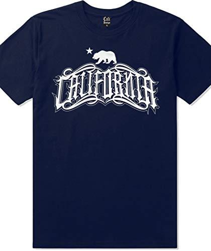 Mens Navy California Republic Tattoo T Shirt West Coast Cholo Chicano Art Tee, L - - Tattoos California