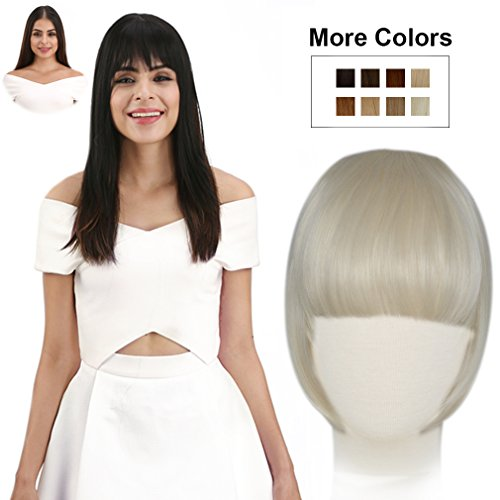 REECHO Fashion Full Length Synthetic One Piece Layered Clip in Hair Bangs / Fringe / Hair Extensions Color - White - Usa Full Clip