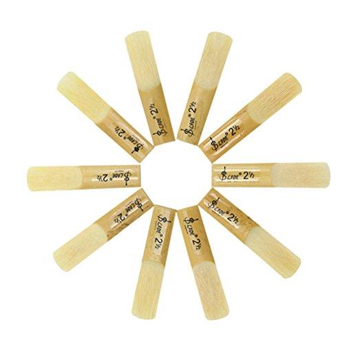 SUPVOX 10pcs 2.5 2-1/2 Bamboo Reeds Eb Alto Sax Saxophone Reeds Set Accessory Part