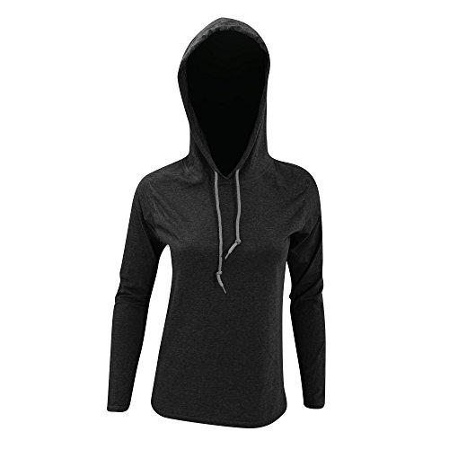 Anvil Anvil Woman CRS Fitted Fashion LS Hooded Tee-Camiseta Mujer Gris foncé/Gris foncé
