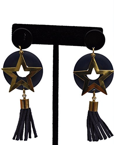 - Tassel Wood Star Party Dangle Earring (Black)