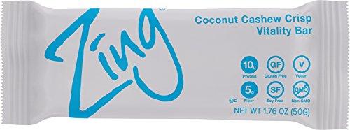 Zing Vital Energy Nutrition Bar, Coconut Cashew Crisp, (12 Bars), High Protein, High Fiber, Low Sugar, Coconut Flakes, Cashew Butter, Crisp Quinoa, Vegan