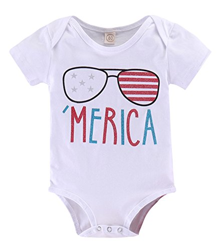 Newborn Baby Boys Girls Merica Flag Star Stripe Romper Letters Print Onesies One Piece Bodysuit Size 6-12 Months/Tag80 (White) by BANGELY
