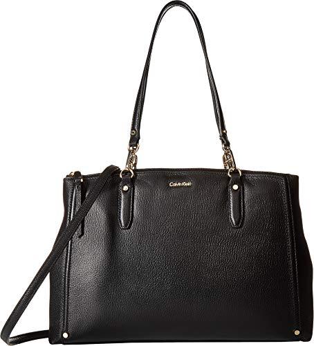 Calvin Klein Women's Goat Leather Satchel Black/Gold One Size