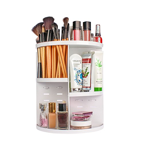Evoio 360 Degree Rotation Makeup Organizer Adjustable Multi-Function Cosmetic Storage Box, Large Capacity, 7 Layers, Fits Toner, Creams, Makeup Brushes, Lipsticks, Essential Oils (Flat Top, White)