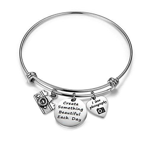 Gzrlyf Photographer Gift Camera Bracelet Create Something Beautiful Each Day Charm Jewelry (Camera Bracelet)