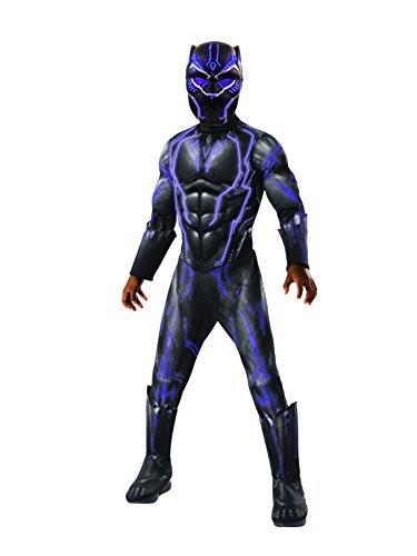 Rubie's Boys Black Panther Super Deluxe Light up Battle Costume, As Shown, Large]()