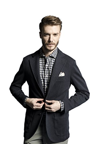 La Catenella Mens Suits Stylish Casual Tweed Jersey Blazer Jacket (Navy & Beige Color Available)