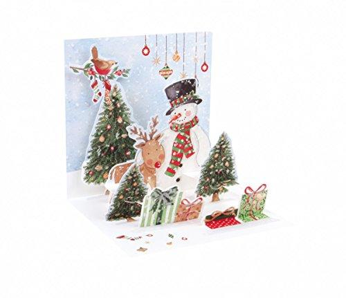 3D Snowman And Deer Pop-Up Treasure Christmas Card