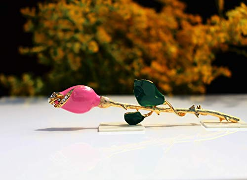 Pink rose long stem 22k gold plated Swarovski elements red green enamel BROOCH by Inga Engele made in USA lead free metal ... ()