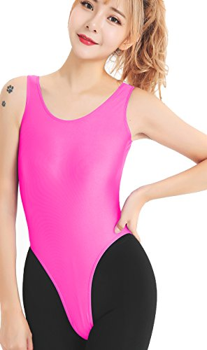 (Speerise Womens One Piece Tank High Cut Leotard Thong Bodysuit, Hot Pink,)