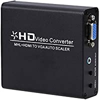 E-More® MHL/ HDMI to VGA Converter Auto Scaler Video Connector Adapter Digital HDMI to Analog PC RGB Support 1920X1080 Box for PC / HDT