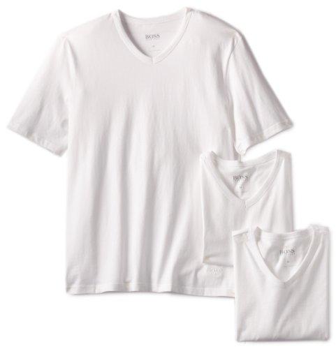 BOSS HUGO BOSS Men's 3-Pack Cotton V-Neck T-Shirt, White, - Boss T-shirt Crew
