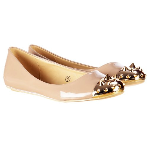 Delle 3 delle Patent Gold Toe Pumps Ballerina Studded Dolcis Beige UK donne Patent signore piatto EU36 UAnd6