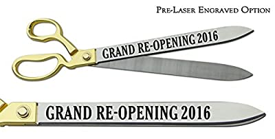 """Pre-Laser Engraved """"GRAND RE-OPENING 2016"""" 20"""" Gold Plated Handles Ceremonial Ribbon Cutting Scissors"""