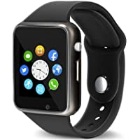 Bluetooth Smart Watch Fitness Tracker, Qidoou Sport Watch Touch Screen Camera Pedometer Sleep Monitor Call/Message Reminder Music Player Anti-Lost Compatible Android and iOS iPhone (Black)