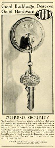 1928 Ad P & F Corbin Hardware Key Door Cylinder Lock Knob Handle Household - Original Print Ad from PeriodPaper LLC-Collectible Original Print Archive