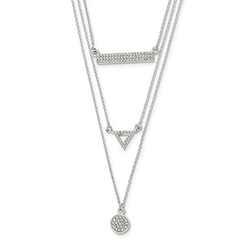 - 925 Sterling Silver Cubic Zirconia Cz Circle Triangle Bar 16 Inch Chain Necklace Pendant Charm Geometric Shape Multi Layer Fine Jewelry Gifts For Women For Her