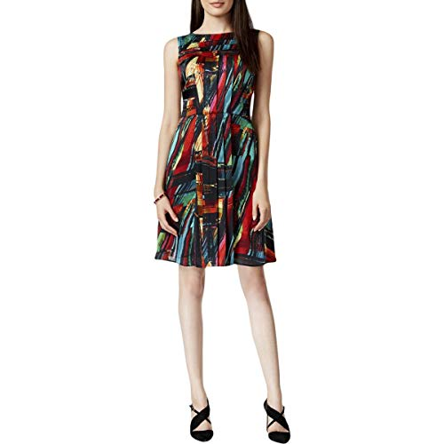ELLEN TRACY Womens Printed Knee-Length Party Dress Black 8