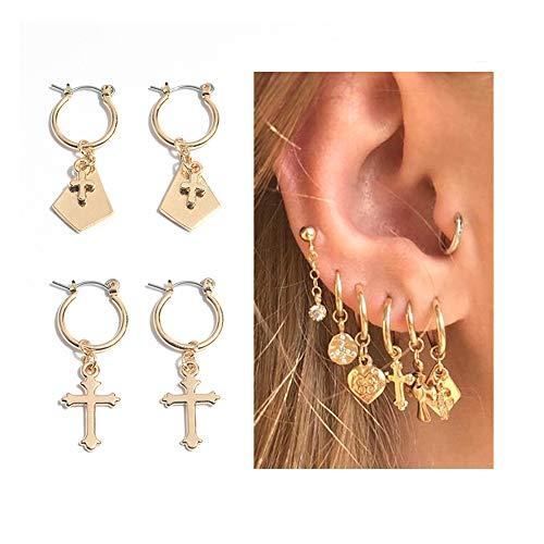 Small Hoop Earrings for Women - Gold Hoop Earrings Set Cz Cartilage Earrings for Lovers (Gold Cross)