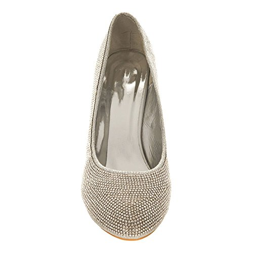 GEANNA. Medium Wedge Heel Soft Curved Toe Shoes Silver 7PjjG