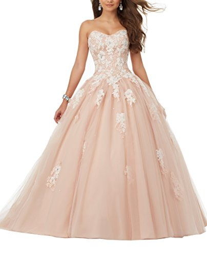 eart Lace Applique Sweet Sixteen Tulle Strapless Floor Length Ball Gown Quinceanera Dress Light Pink US12 ()