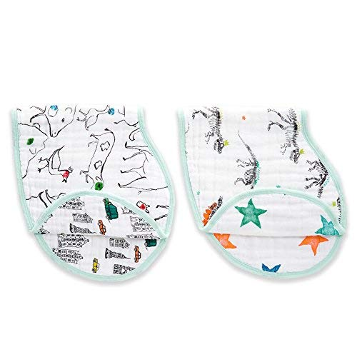 """Price comparison product image aden + anais Classic Burpy Bib,  100% Cotton Muslin,  Soft Absorbent 4 Layers,  Multi-Use Burp Cloth and Bib,  22.5"""" X 11"""",  2-Pack,  Color Pop,  Dinosaurs"""