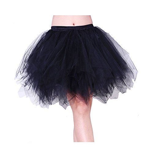 Black Tutu Costumes (Tree YY Women Black 50s 80s Vintage Petticoat Bubble Tulle Party Dance Ballet Adult Tutu Skirts)