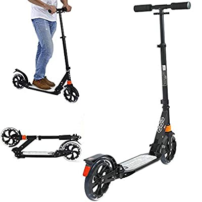 DuncaMontgo Adult Teens Folding Scooter Suspension Wheels Push Kickboard Adjustable Brake, Black : Sports & Outdoors