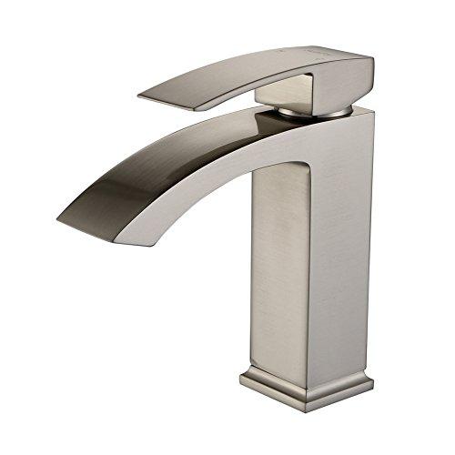 Matte Nickel Deck (SonTiy Lead Free Bathroom Faucet Single Hole Best Modern Solid Brass Bathroom Sink Faucet Hot & Cold Single Handle Vessel Sink Faucet Brushed Nickel)