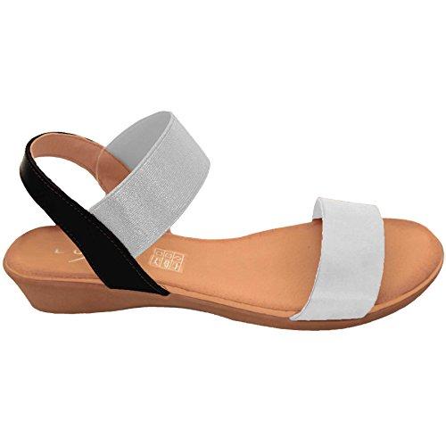 ZAFIRO Boutique jln053 Cómodas para Dama Elástico Grueso correas Moderno Sandalias Cuña Baja Plata / Blanco