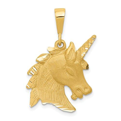 Mireval 14k Yellow Gold Unicorn Head Charm (19 x 30 mm)