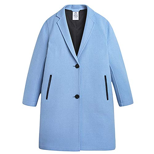 URLAZH Womens Wool Longline Embroidered Single Breasted Peacoat Winter Warm Coat Pastel Blue