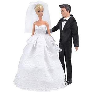 E-TING Princesa Muñeca Vestido Noche Fiesta Encaje Blanco Vestido de Fiesta bordado Barbie ropa de la boda con velo traje traje traje Formal + Set ...
