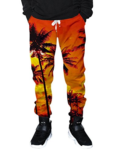 RAISEVERN Teen Girls Holiday Coconut Trees Printed Workout Running Jogger Pants