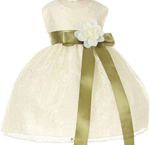 Baby Girls' Ivory Lace Dress Ribbon Sash Flowers Girls Dresses Sage Ivory 6M (C11C32B)