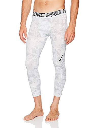 Nike Men's Pro Hypercool 3 Quarter Digi Camo Tight (White/Pure Platinum/Black, XX_Large)