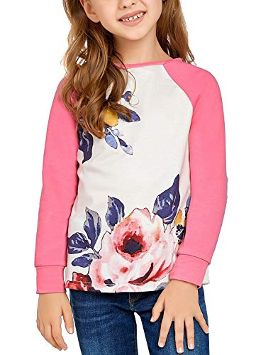 (Utyful Girls Casual Crew Neck Patchwork Long Sleeves Pullover Floral Print Sweatshirt T-Shirt Blouses Baby Pink XX-Large (fits 12-13 Years))