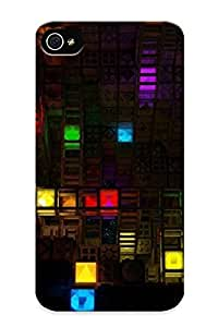 Hot Tpu Cover Case For Iphone/ 4/4s Case Cover Skin Design - Abstract Multicolor Digital Art Colors